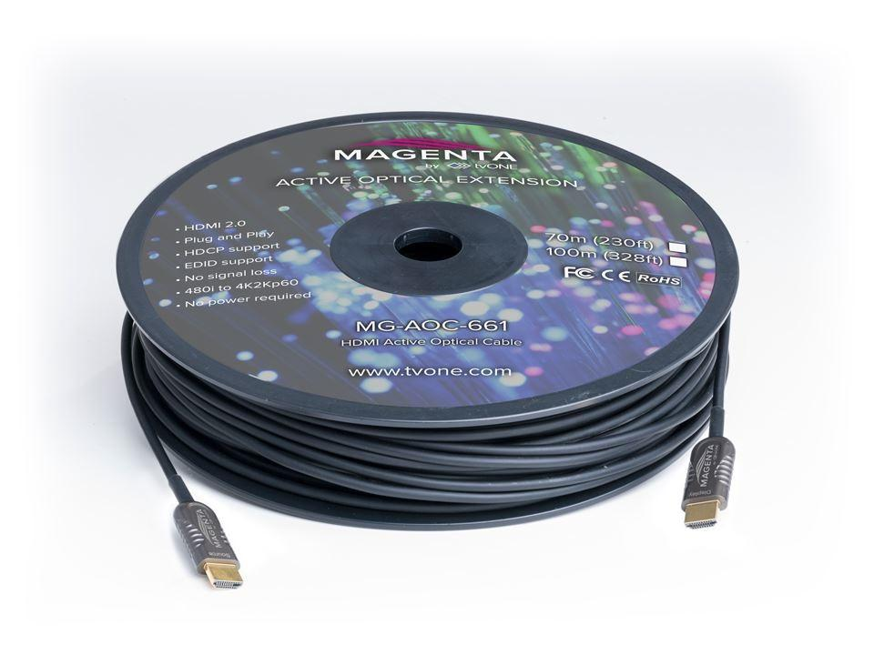 Magenta Research MG-AOC-662-25 HDMI 2.0 Active Plenum Optical Cable 82ft (25m)