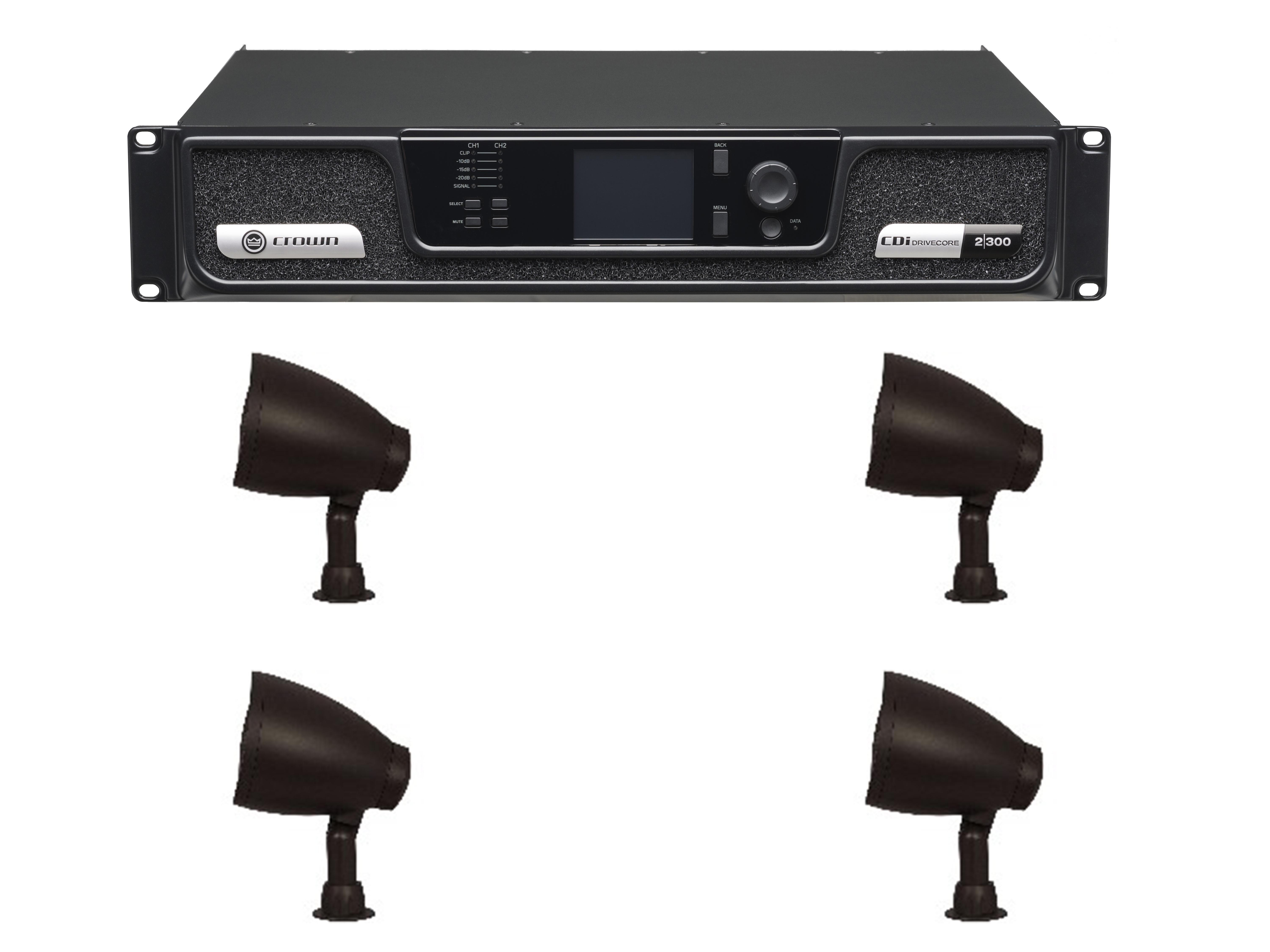 Niles NI-GS-6-KIT Outdoor Sound System with Crown CDi 2/300 Amplifier and NI-GS-6 Speaker