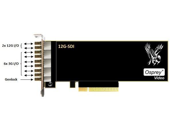 Osprey 95-00516 Dual 12G SDI Plus 6x 3G SDI I/O Genlock Captured Cards (1285)