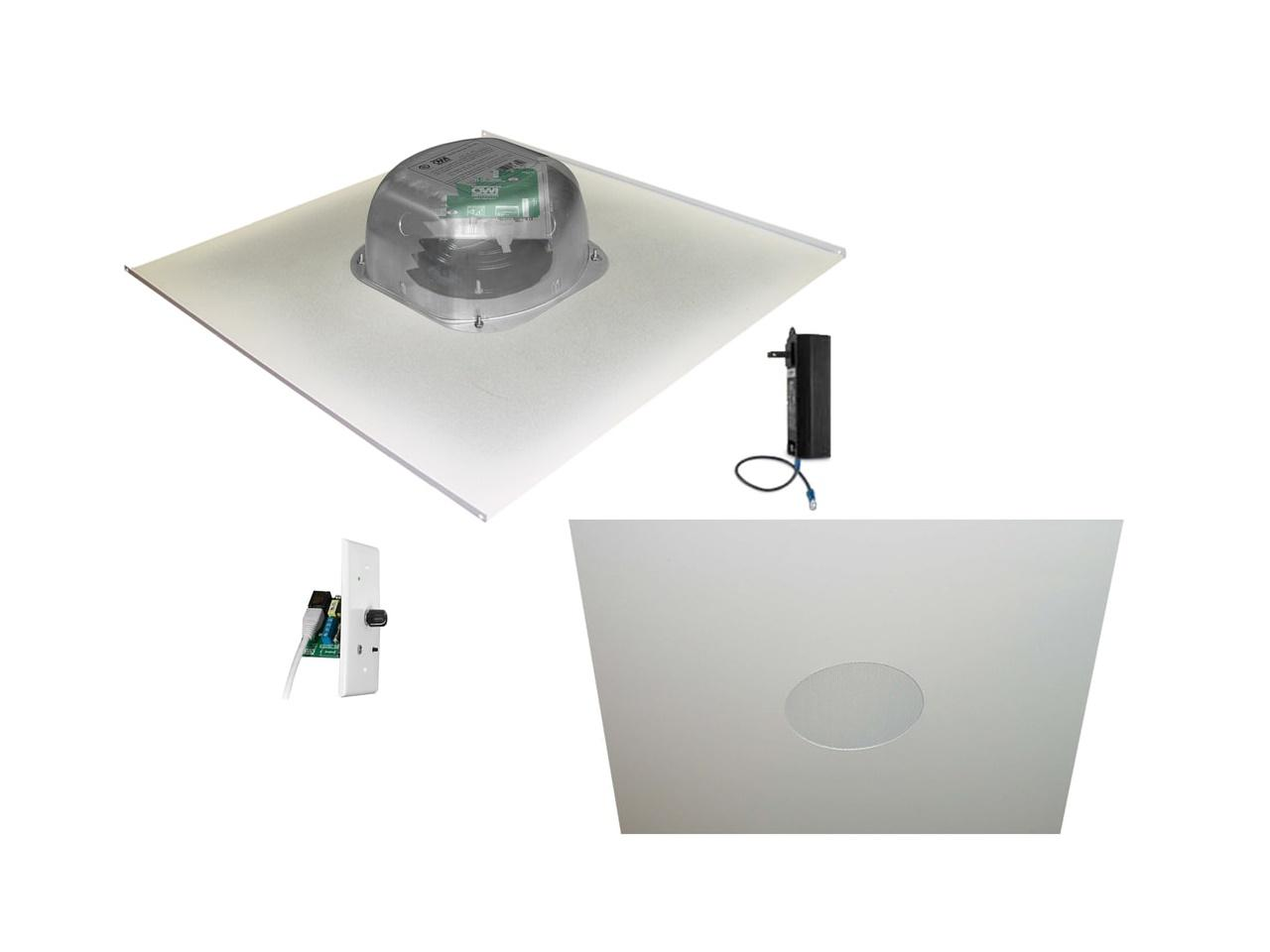 OWI 2X2AMP-CAT62BTVC 6 inch Integratable Amplified In Ceiling Speakers on a 2x2 Metal Tile (Two Combination) with Bluetooth Volume Control