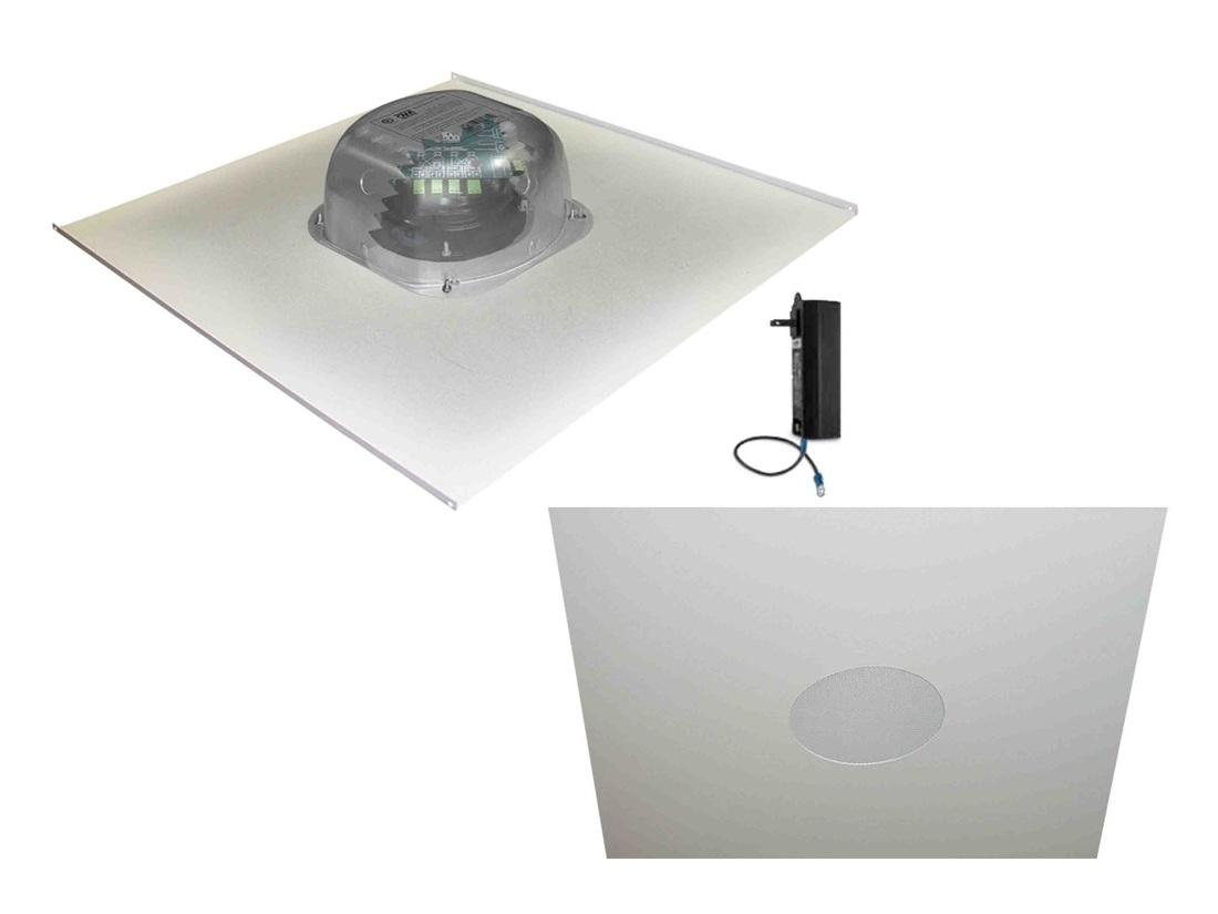 OWI 2X2AMP-HDTR62 6 inch Three Source/Integratable Amplified/2X2 Metal Tile/In Ceiling Speaker/Transformer with 2X2IC6NA Speaker
