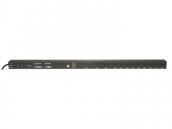 Panamax VT1512-IP Vertical strip style PDU/surge protector with local area network and BlueBOLT cloud control