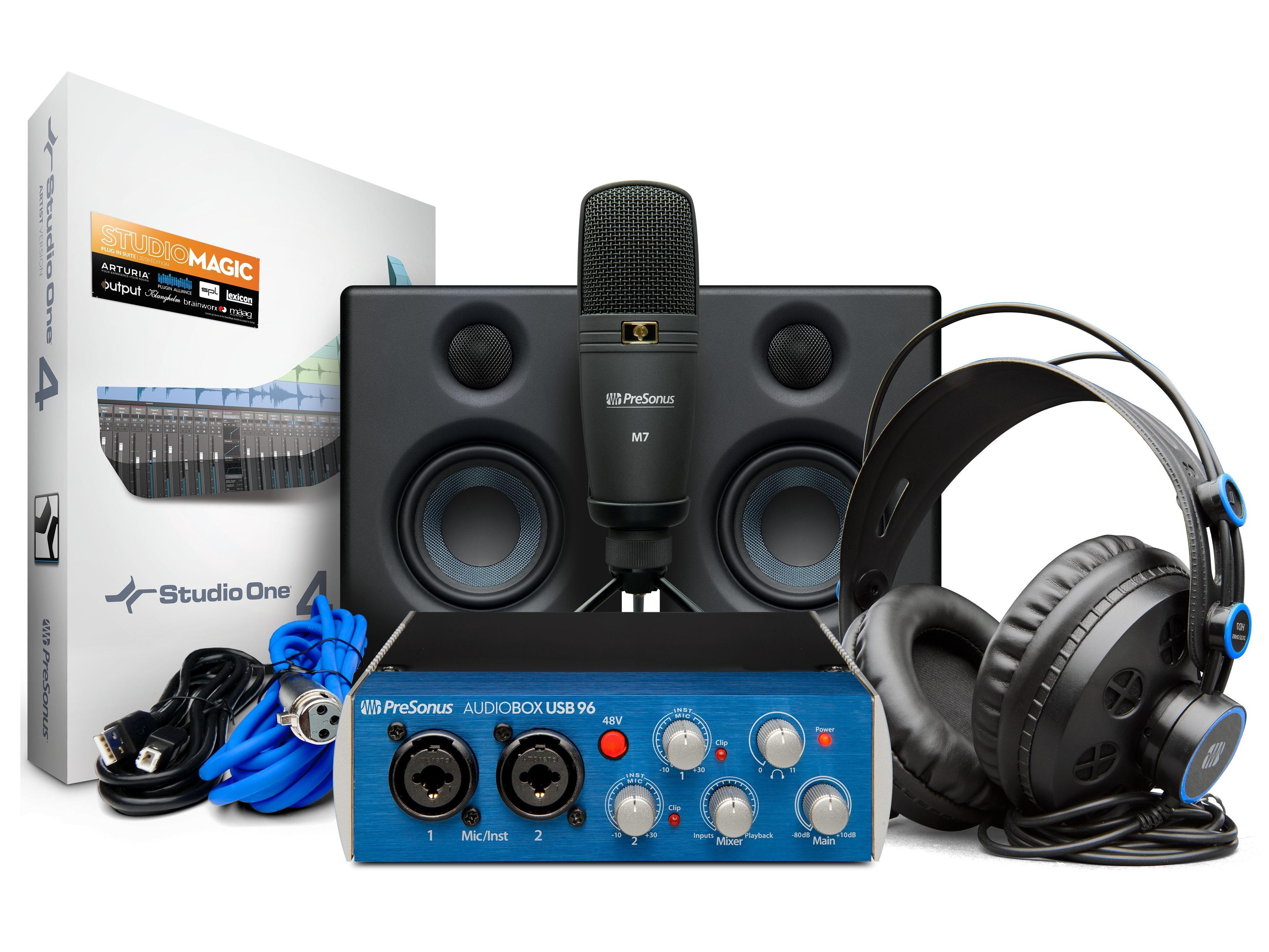 PreSonus AudioBox 96 Studio Ultimate AudioBox USB 96/HD7 Headphones/M7 Mic/Studio One Artist/Eris E3.5