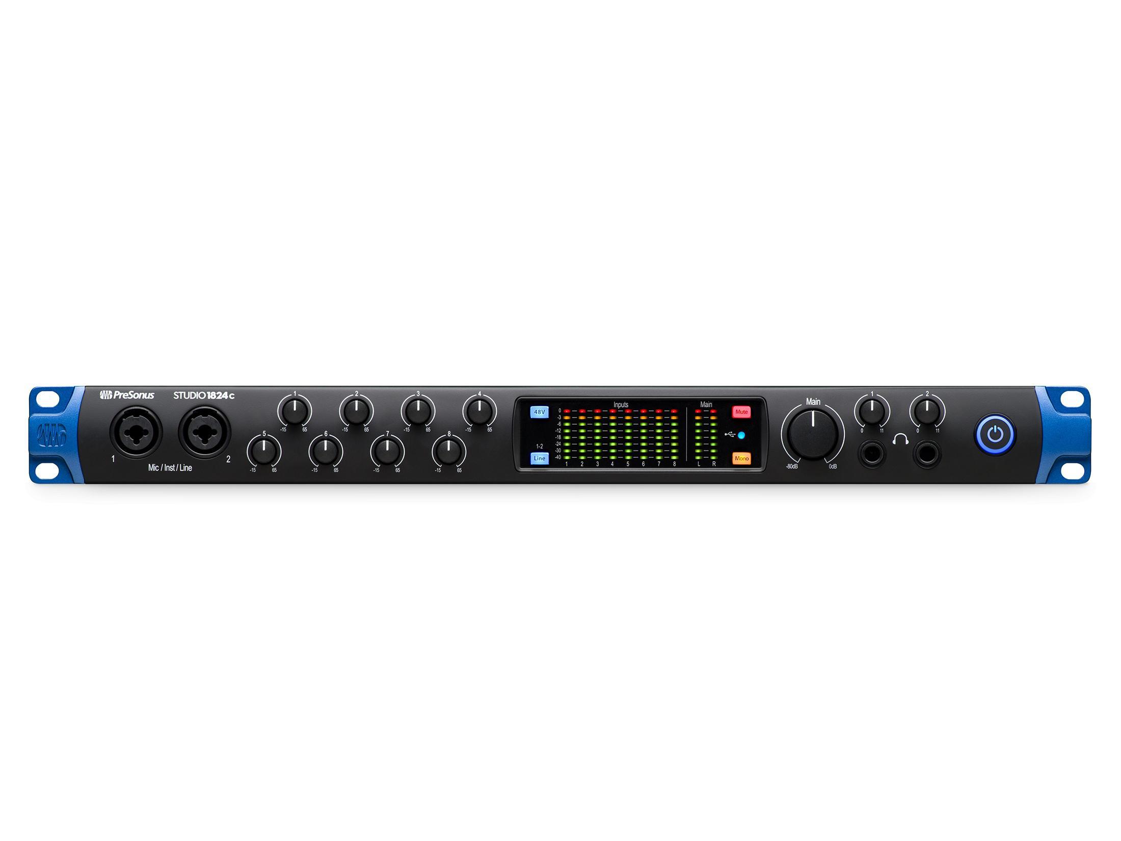 PreSonus Studio 1824c The full-featured ultra-high-def 18x24 USB-C audio interface with 8 Mic inputs/24-bit/192kHz/ADAT I/O