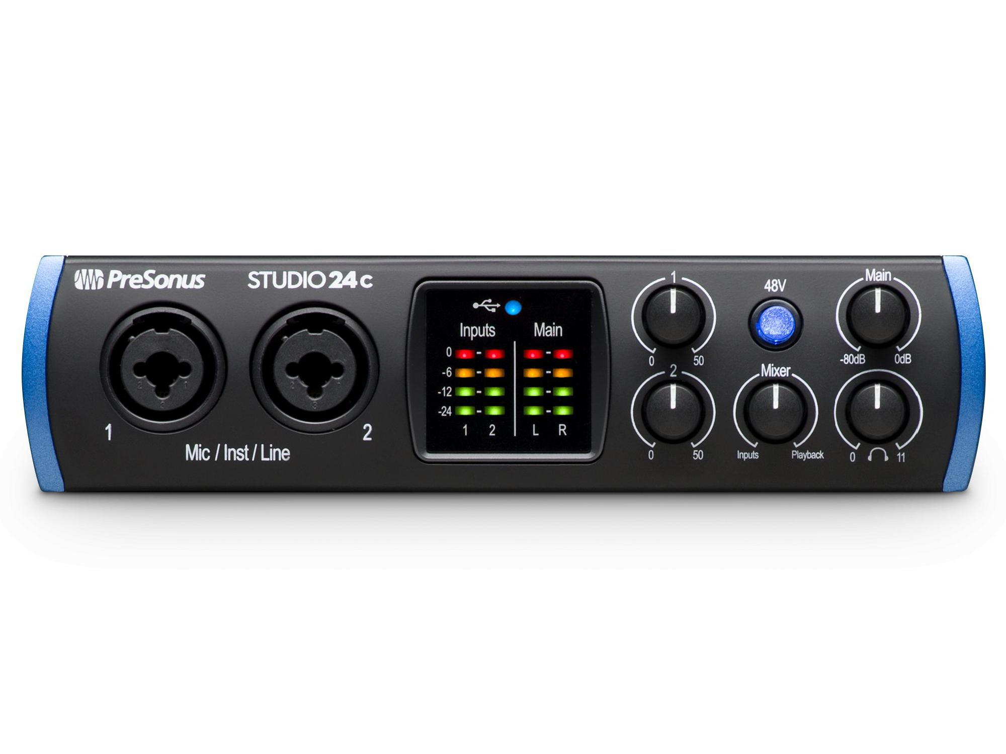 PreSonus Studio 24c The portable ultra-high-def 2X2 USB-C Audio Interface with 2 Mic inputs/24-bit/192kHz