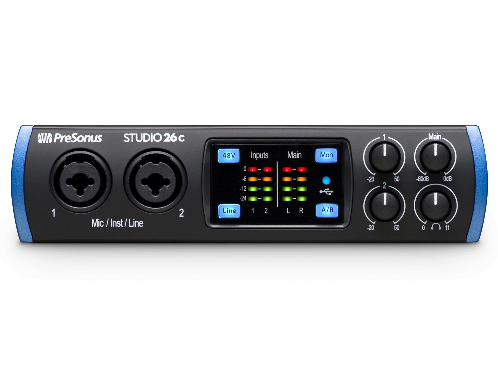 PreSonus Studio 26c The portable affordable ultra-high-def 2X4 USB-C Audio Interface with 2 Mic inputs/24-bit/192kHz