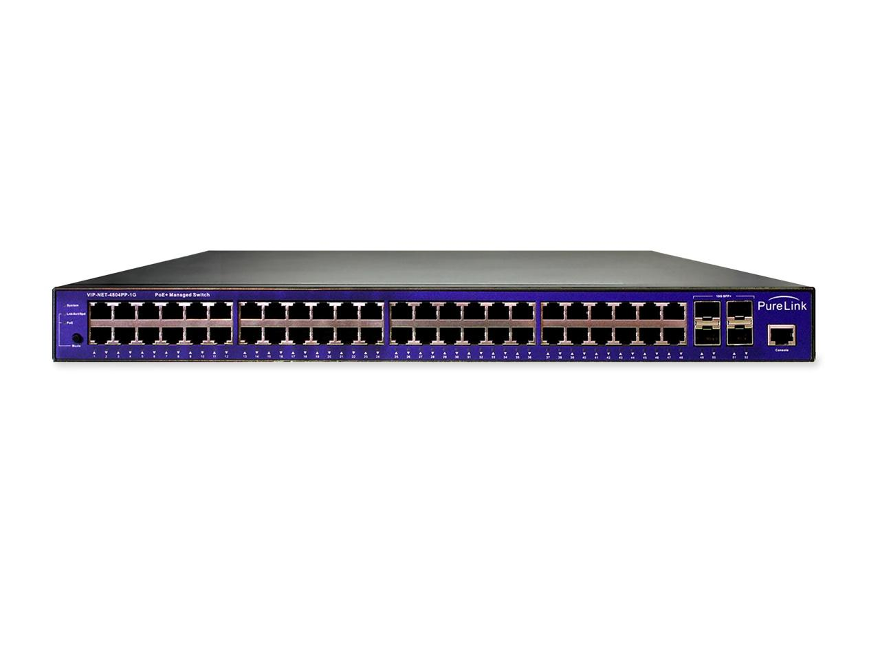 PureLink VIP-NET-4804PP-1G PoE  Gigabit Network Switch (48 Port 1000Base-T/4 Port 10GbE SFP )