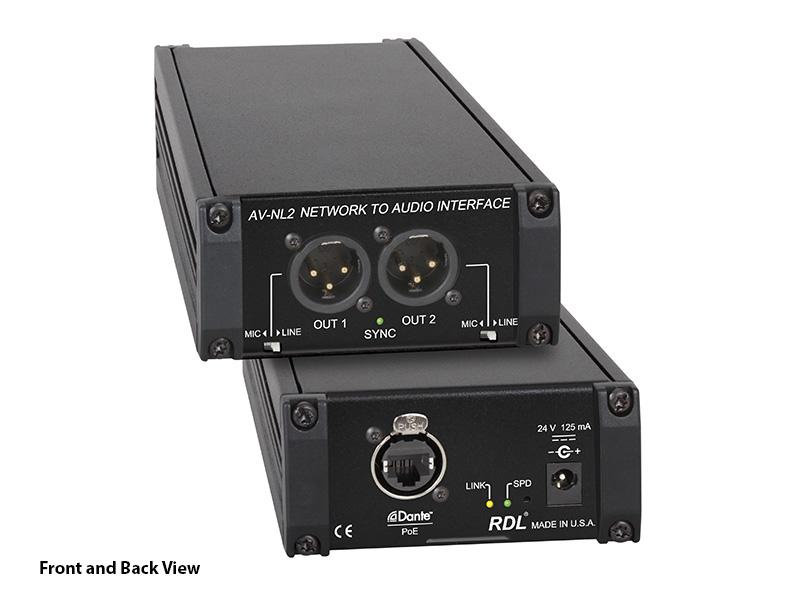 RDL AV-NL2 2 Dante network audio channels to 2 balanced audio outputs Converter on XLR connectors