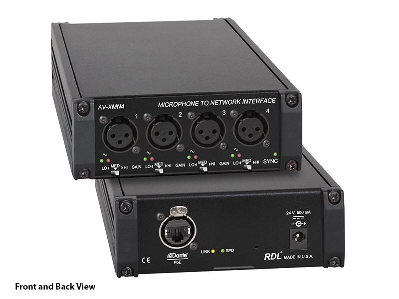 RDL AV-XMN4 4 XLR microphone inputs to Dante network audio channels Converter