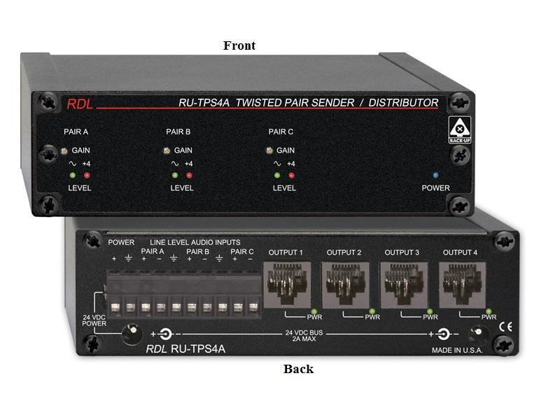 RDL RU-TPS4A Twisted Pair Format-A Active Extender (Transmitter) Distributor