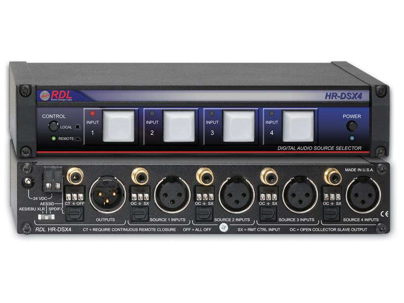 RDL HR-DSX4 AES/EBU and S/PDIF Digital Audio Selector