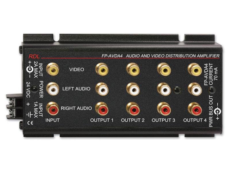 RDL FP-AVDA4 1x4 Stereo Audio/Video Distributor/Phono Jacks