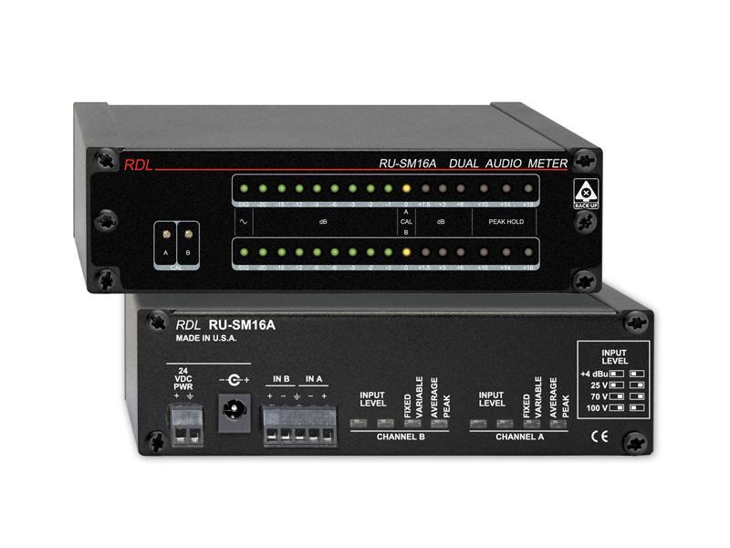 RDL RU-SM16A 2 Channel Audio Meter - Average/Peak/Hold
