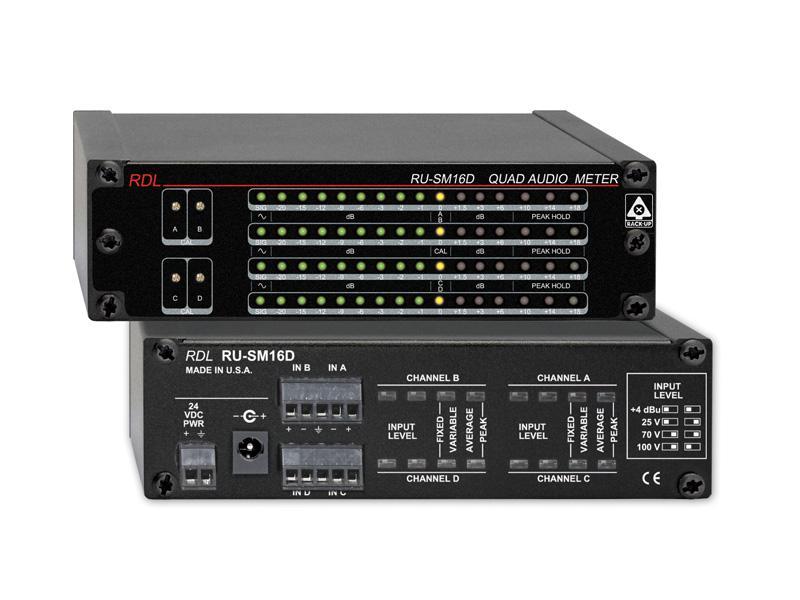 RDL RU-SM16D 4 Channel Audio Meter - Average/Peak/Hold