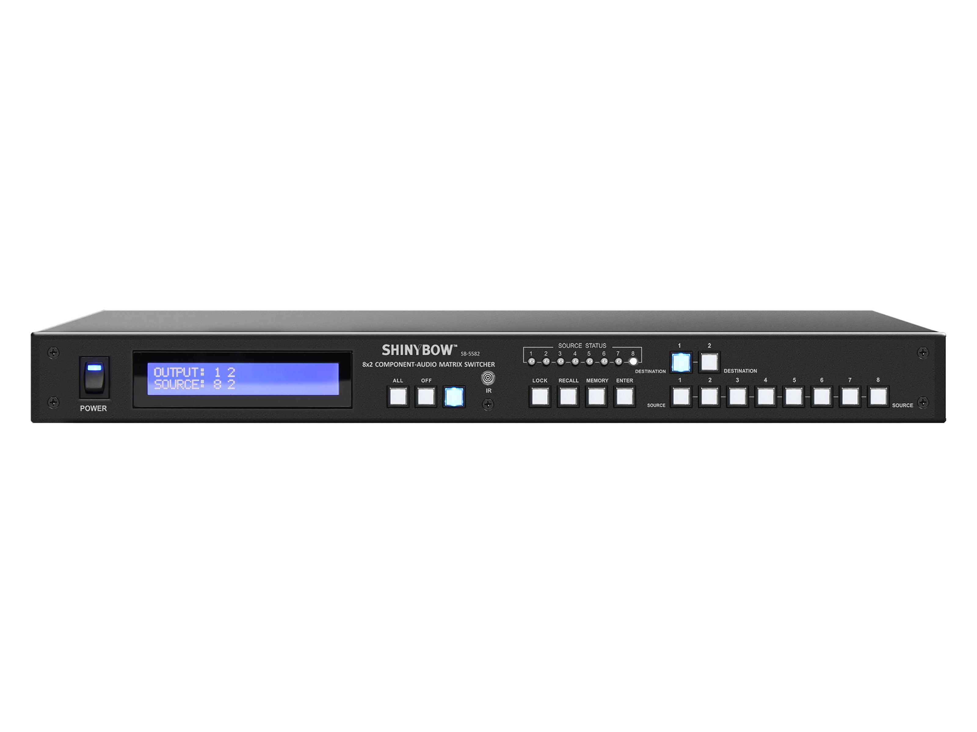 Shinybow SB-5582LCM 8x2 Component Video/Stereo Audio Matrix Switcher with RS-232
