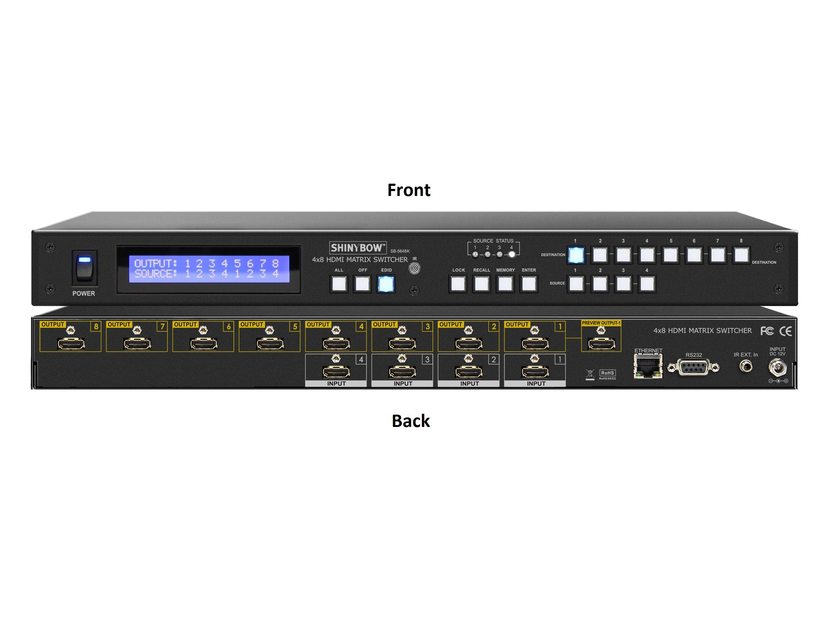 Shinybow SB-5648K 4x8 UHD 4K2K/30Hz HDMI Matrix Routing with Full EDID Management/Learning