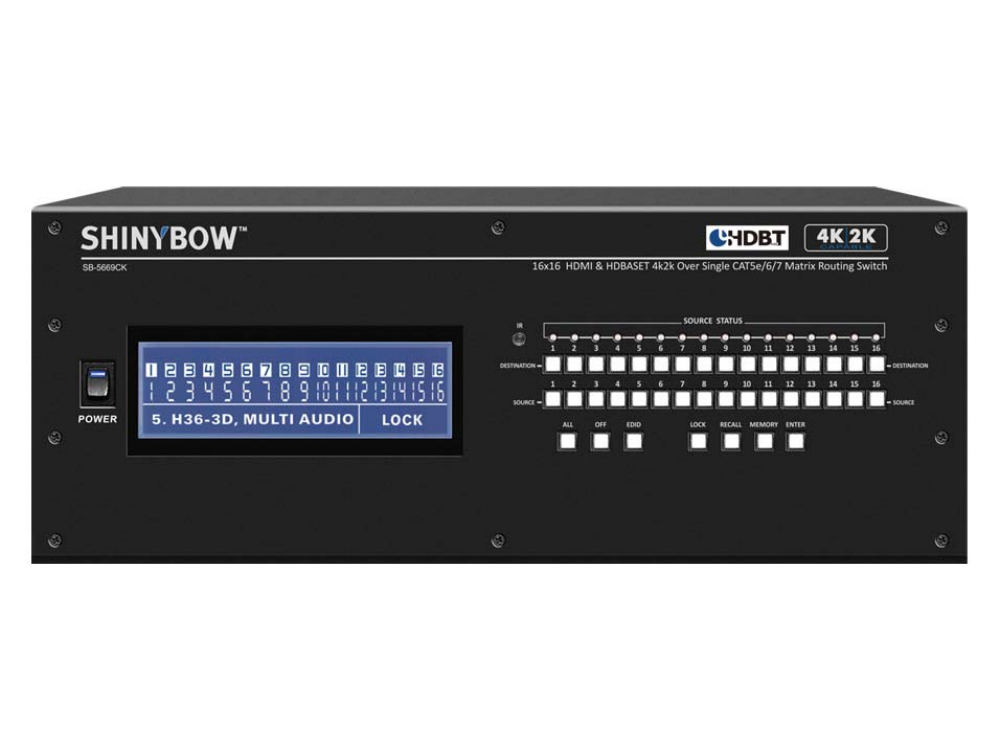 Shinybow SB-5669CK 16x16 HDMI/HDBaseT 4K2K Matrix Routing Switch w Full EDID