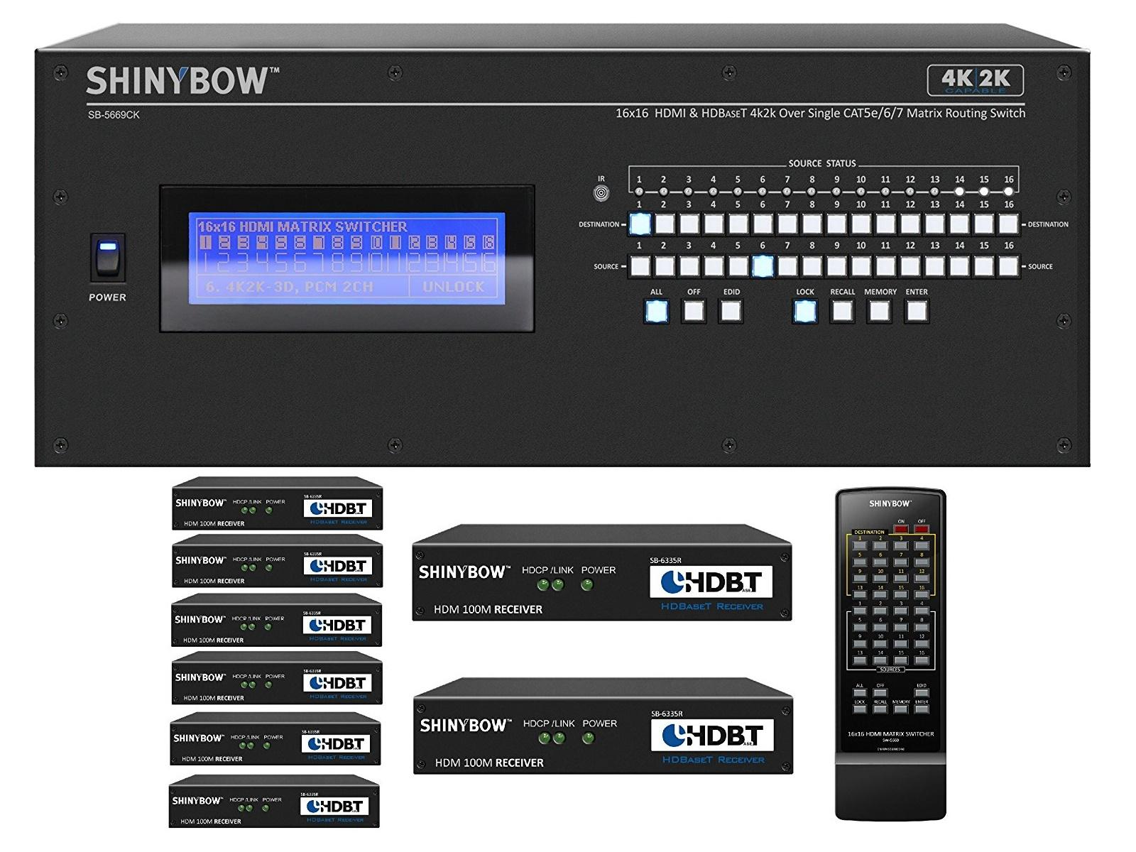 Shinybow SB-5669CK-8x35R-Kit 16x16 4K UHD HDBaseT Matrix Switcher Kit/1 x SB-5669CK Switch/8 x SB-6335R Receivers