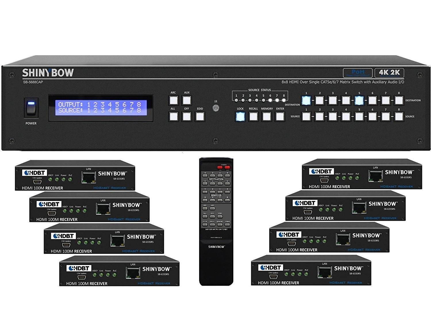 Shinybow SB-5688CAP-8x35R5-Kit 8x8 4K UHD HDBaseT PoH Matrix Switcher Kit/1 x SB-5688CAP Switch/8 x SB-6335R5 Receivers