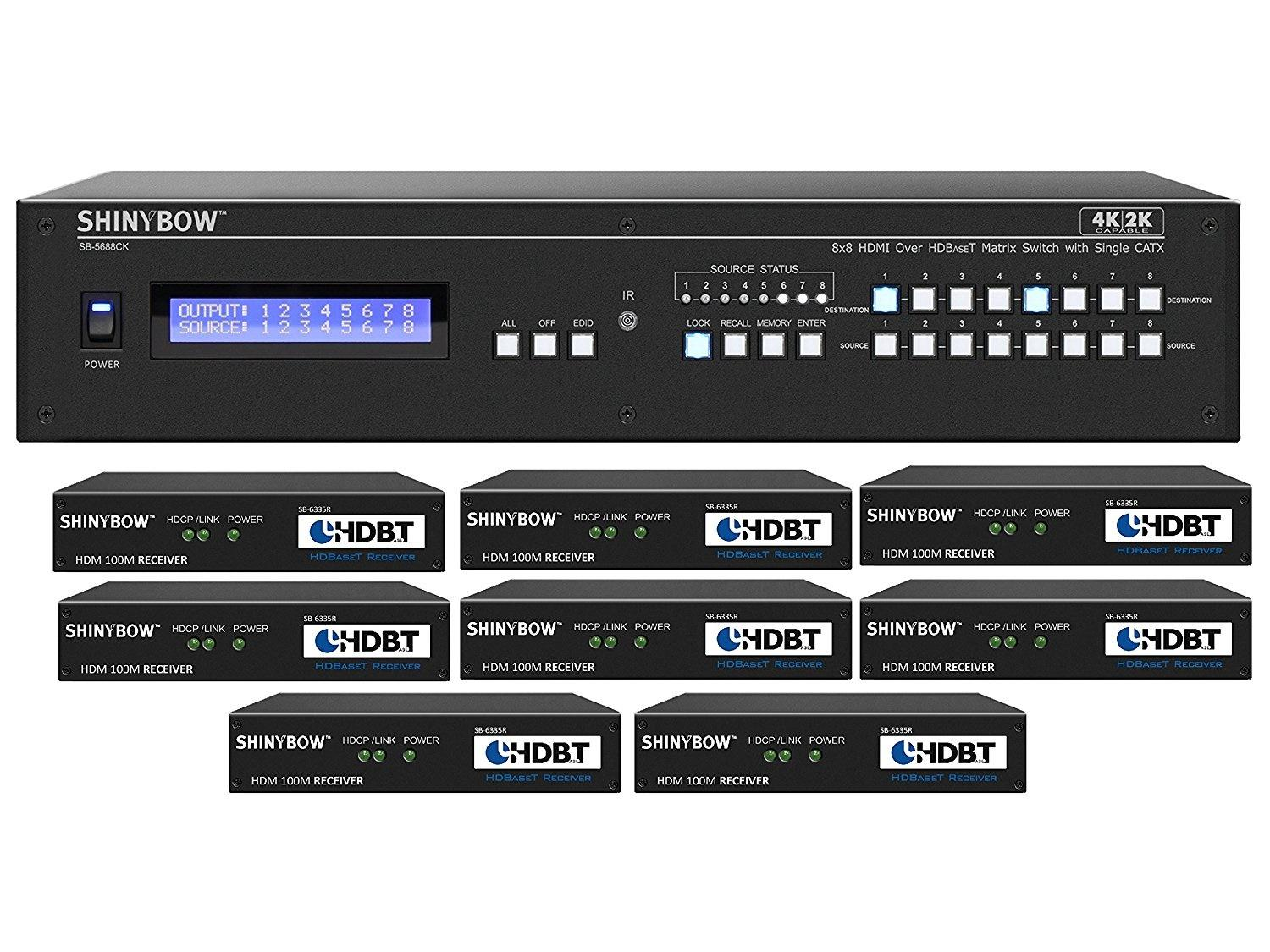 Shinybow SB-5688CK-8x35R-Kit 8x8 4K UHD HDBaseT Matrix Switcher Kit/1 x SB-5688CK Switch/8 x SB-6335R Receivers
