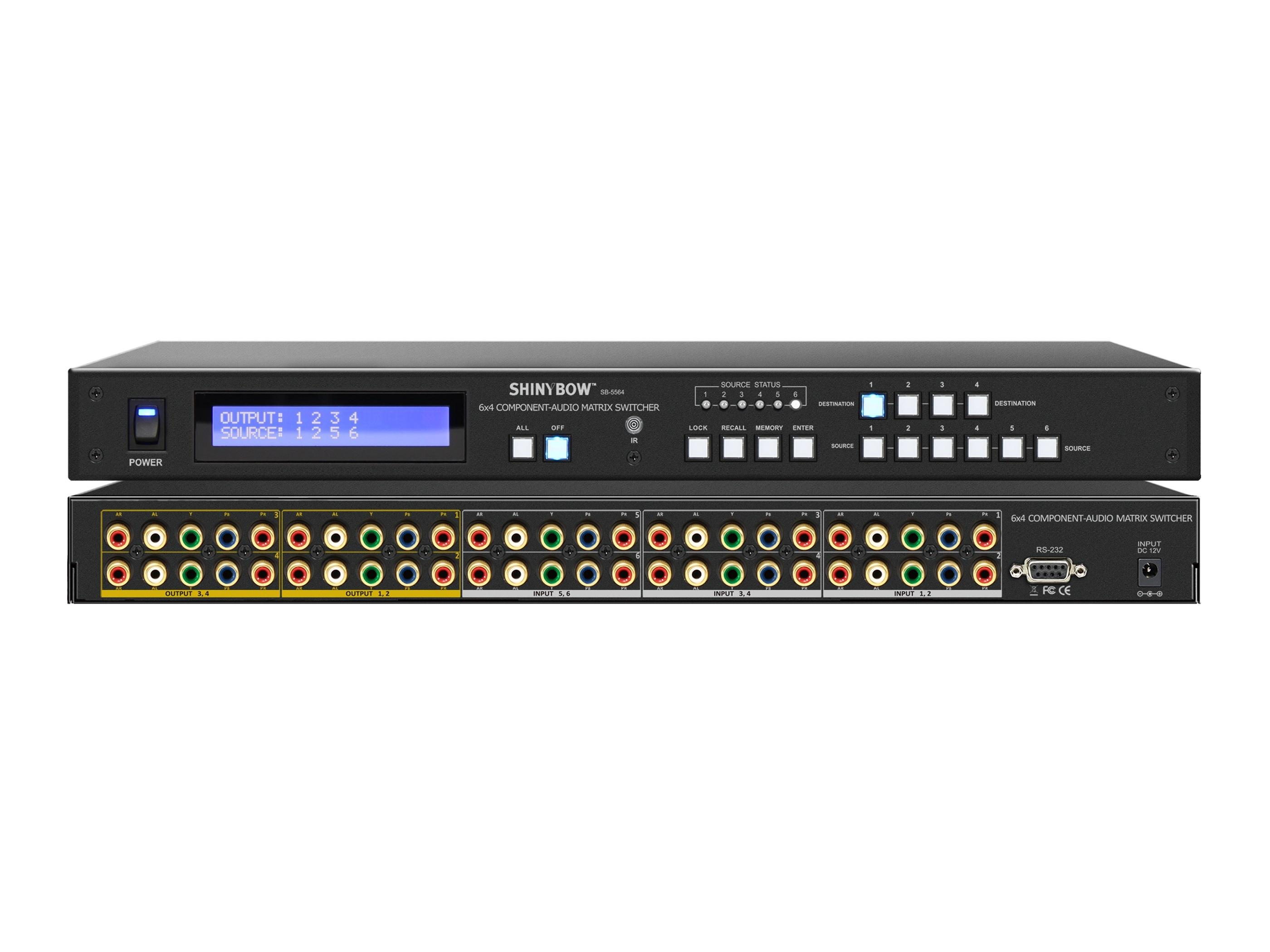 Shinybow SB-5564LCM 6x4 Component Video/Stereo Audio Matrix Routing Switcher