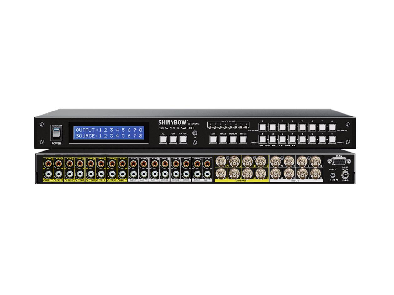 Shinybow SB-5548BNC 8x8 Composite Video Matrix Switcher w Stereo Audio (BNC)