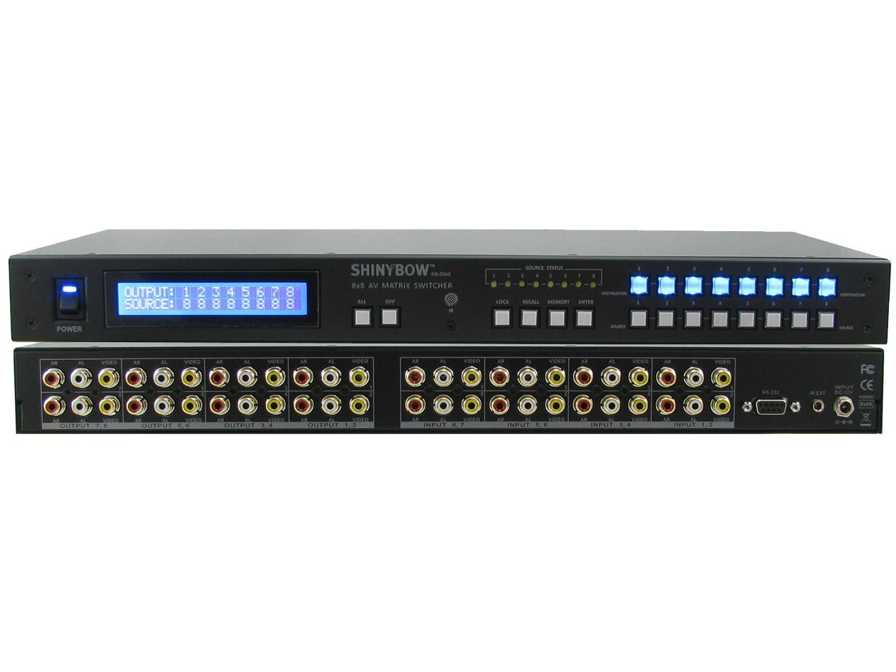 Shinybow SB-5548LCM 8X8 Composite Video Matrix Switcher w Stereo Audio