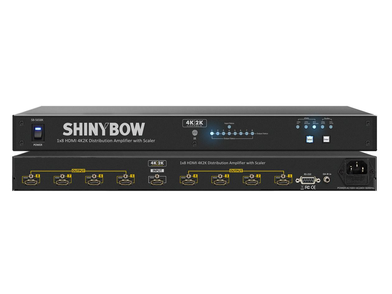 Shinybow SB-5658K 1x8 HDMI UHD 4K2K Distribution Amplifier w Scaler