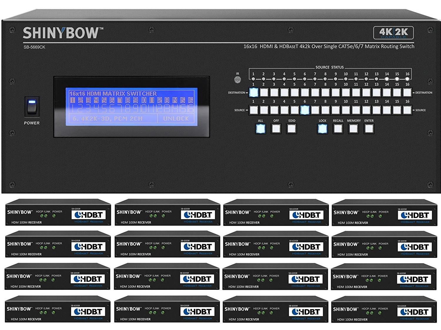 Shinybow SB-5669CK-16x35R-Kit 16x16 4K UHD HDBaseT Matrix Switcher Kit/1 x SB-5669CK Switch/16 x SB-6335R Receivers