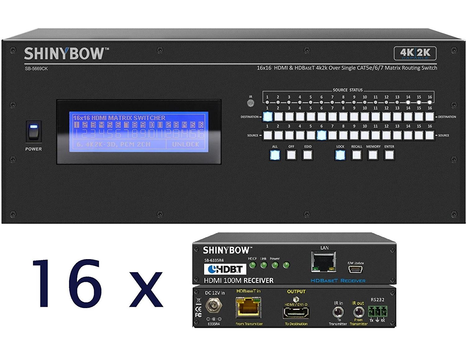 Shinybow SB-5669CK-16x35R4-Kit 16x16 4K UHD HDBaseT Matrix Switcher Kit/1 x SB-5669CK Switch/16 x SB-6335R4 Receivers