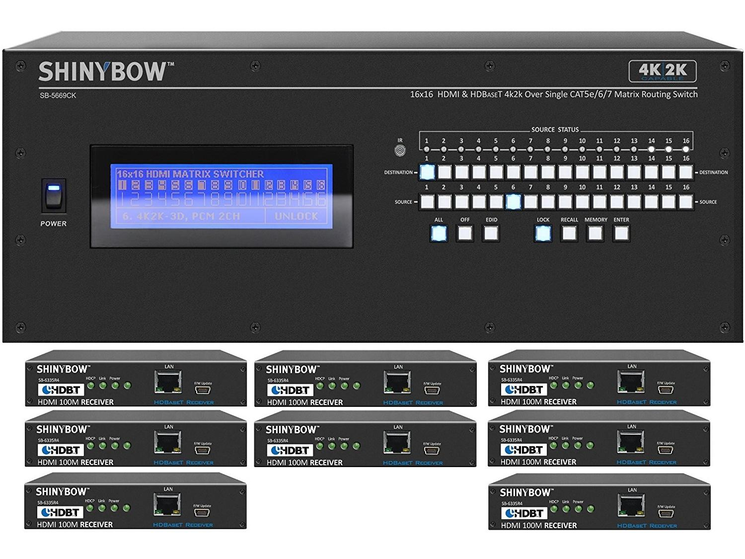 Shinybow SB-5669CK-8x35R4-Kit 16x16 4K UHD HDBaseT Matrix Switcher Kit/1 x SB-5669CK Switch/8 x SB-6335R4 Receivers