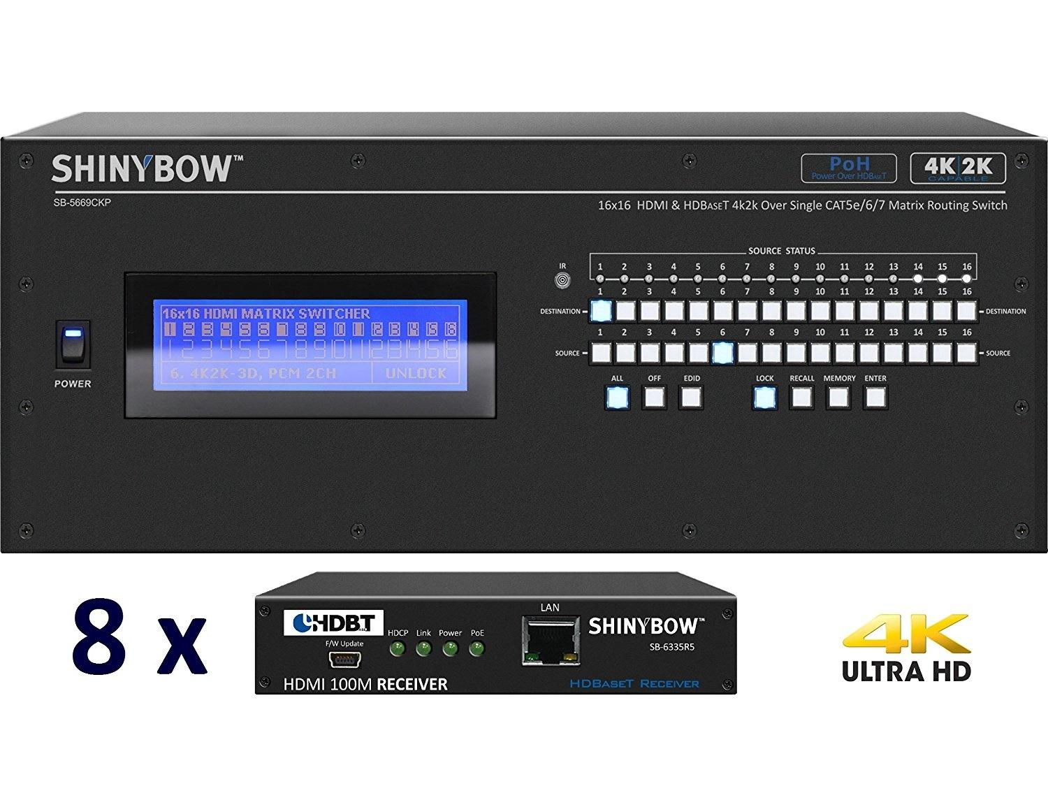 Shinybow SB-5669CKP-8x35R5-Kit 16x16 4K UHD HDBaseT PoH Matrix Switcher Kit/ SB-5669CKP Switch/8 x SB-6335R5 Receivers