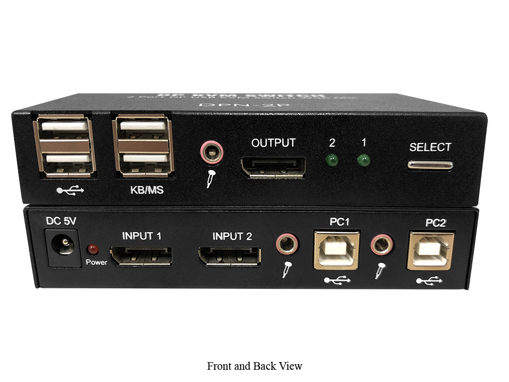 Smartavi DPN-2P-S 4K60 2-Port DisplayPort KVM Switch with Mic Audio and USB 2.0 Support