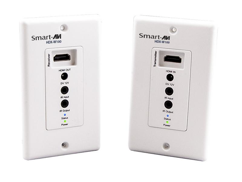 Smartavi HDX-W100S-b 1080p/60 HDMI Wall Plate Extender (Transmitter/Receiver) Kit with IR up to 150ft