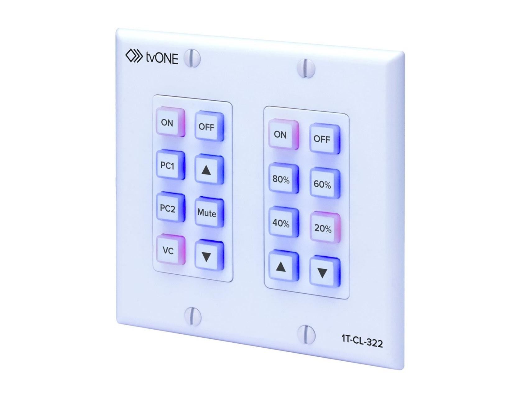 TV One 1T-CL-322-US North American 16 button 2-gang wall mounted control panel