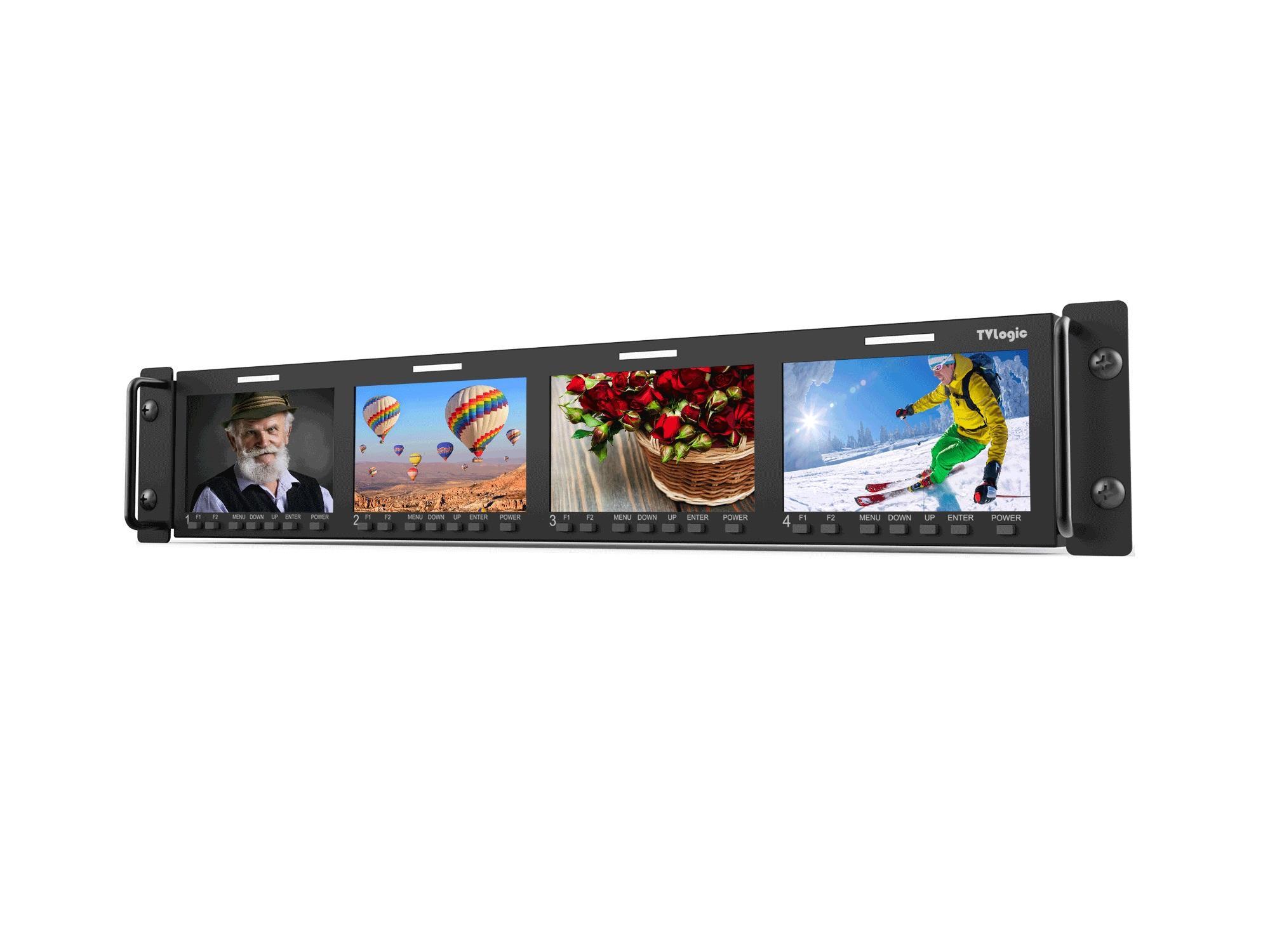 TVlogic RKM-443A Quad 4.3 inch 800x480 HD/SD Multi-Channel LCD Rack Monitor