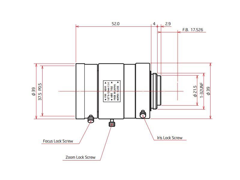 ViewZ VZ-B612VM 1/2 inch Vari-Focal with Manual Iris 6-12mm F1.4 - C-Mount