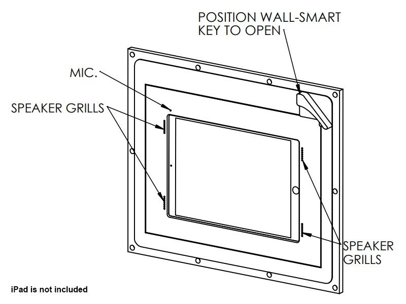 Wall-Smart 10-01-354 Secured In-Wall Mount for iPad Pro 12.9 inch with Grills