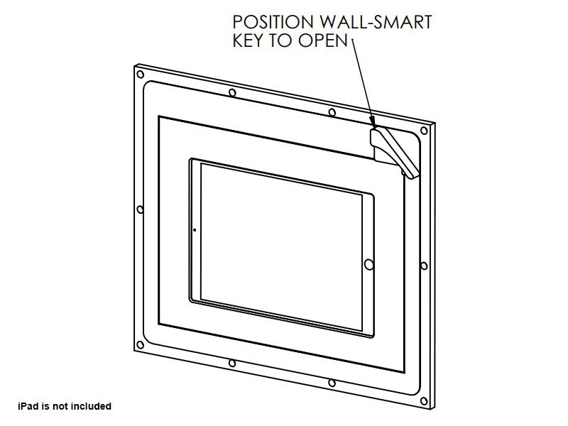 Wall-Smart 10-01-537 In-Wall mount for iPad 12.9in Pro with Hidden Lock/No Grills