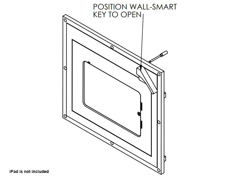Wall-Smart 10-01-659 Secured Accessible In-Wall Mount for iPad Mini 4 with Grills/Hidden Lock