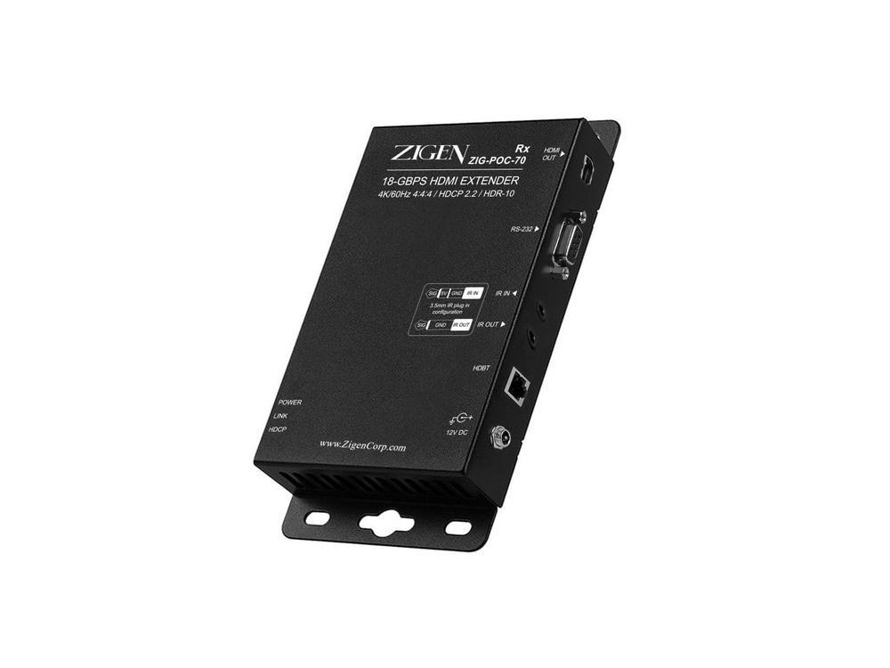 Zigen ZIG-POC-70 4K Extender (Transmitter/Receiver) Set/POC/IR/RS-232/HDR-10