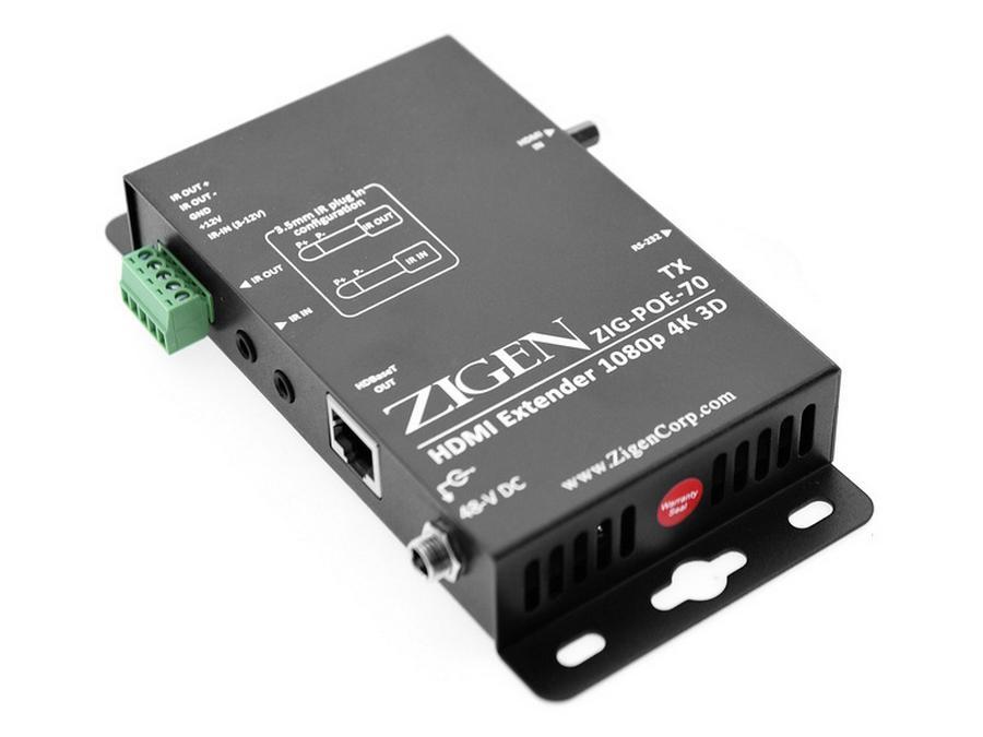Zigen ZIG-POE-70-TX-b HDBaseT/HDMI Extender (Transmitter) with 48V POE/4K-UHD/IR/RS232 (70m)