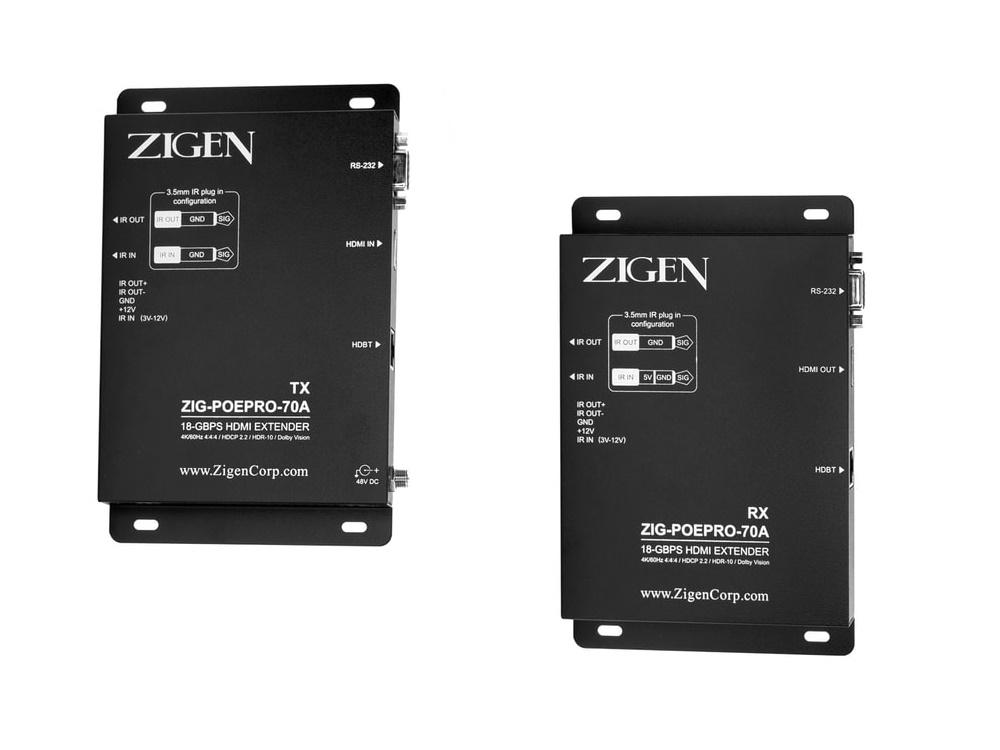 Zigen ZIG-POEPRO-70A 4K Extender (Transmitter/Receiver) Set/PoE/ARC/IR/RS232