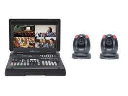 Datavideo HS-1500T-2C HD/SD 4-Channel HDBaseT Portable Video Studio with 2x PTC-150TL Cameras Kit