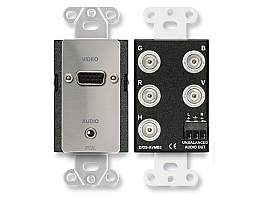 RDL DS-AVMB2 Video Decora Jack Panel/Stainless/DB15 to BNC/Mini