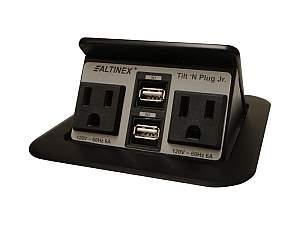 Altinex TNP155-b Tilt n Plug Jr Tabletop Interconnect Box w 2x2 Charging USB/Power