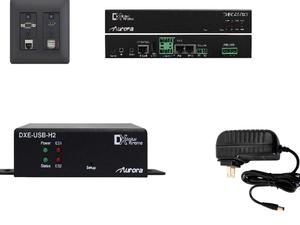 Aurora Multimedia DXW-2EU-S3-B 2 Input VGA/ HDMI/ LAN/ USB HDBaseT Wall Plate Extender (Transmitter/Receiver) Set with Audio I/O (Black)