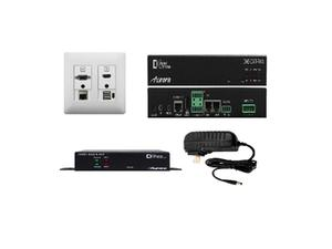 Aurora Multimedia DXW-2EU-S3-W 2 Input VGA/ HDMI/ LAN/ USB HDBaseT Wall Plate Extender (Transmitter/Receiver) Set with Audio I/O (White)
