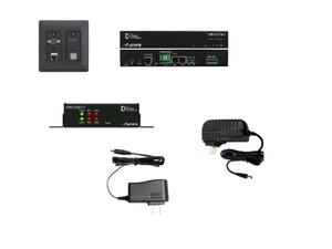 Aurora Multimedia DXW-2EUH-S3C-A-B 2 Input HDBaseT Wall Plate VGA/HDMI/LAN/USB 2.0 Extender Set with Two 2x35W Amplifier (Black)