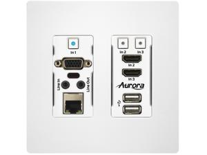 Aurora Multimedia HTW-2-W 1 VGA and 2 HDMI HDBaseT 2.0 Wall Plate Transmitter (White)